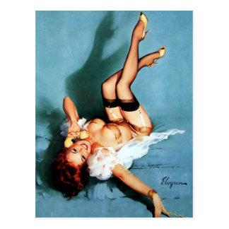 Vintage Gil Elvgren Pin UP Girl on The Phone Postcard