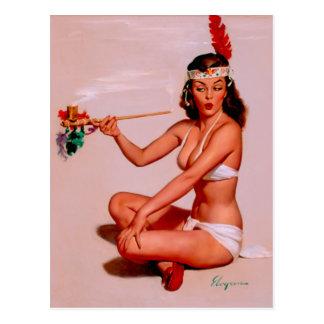 Vintage Gil Elvgren Pin Up Girl Smoking Peace Pipe Postcard
