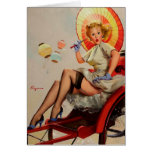 Vintage Gil Elvgren Rickshaw Pin up girl Card