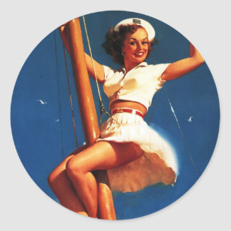 Vintage Gil Elvgren Sail Boat Sailing Pin UP Girl Classic Round Sticker