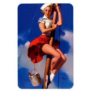 Vintage Gil Elvgren Sail Boat Sailing Pin UP Girl Rectangle Magnet