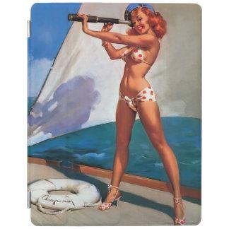 Vintage Gil Elvgren Sail Boat Sailing Pin UP Girl iPad Cover