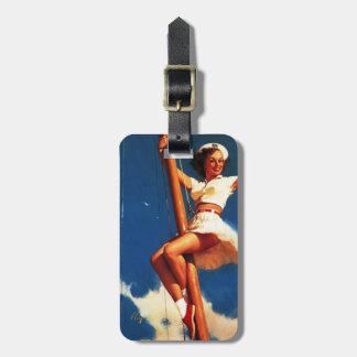 Vintage Gil Elvgren Sail Boat Sailing Pin UP Girl Luggage Tag