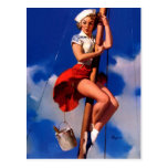 Vintage Gil Elvgren Sail Boat Sailing Pin UP Girl Postcards