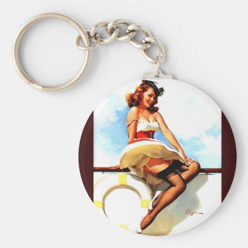 Vintage Gil Elvgren Sailor Nautical Pin up Girl Keychain
