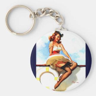 Vintage Gil Elvgren Sailor Nautical Pin up Girl Key Chains