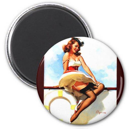 Vintage Gil Elvgren Sailor Nautical Pin up Girl Magnet
