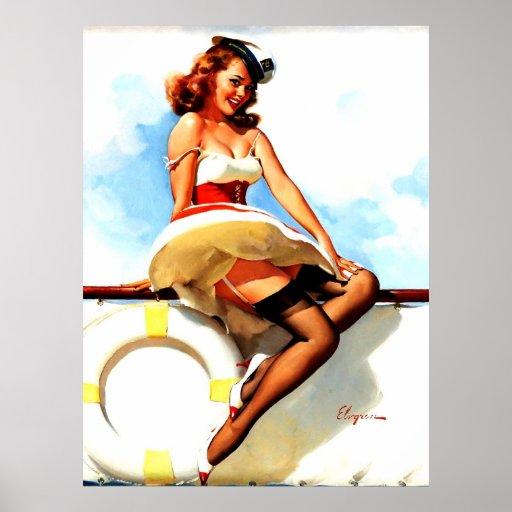 Vintage Gil Elvgren Sailor Nautical Pin up Girl Print