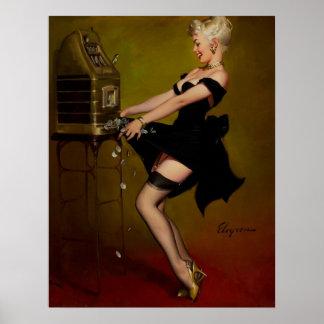 Vintage Gil Elvgren Slot Machine Pinup Girl Poster