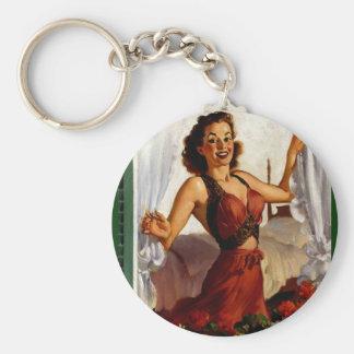 Vintage Gil Elvgren Spring Morning Pinup Girl Keychains