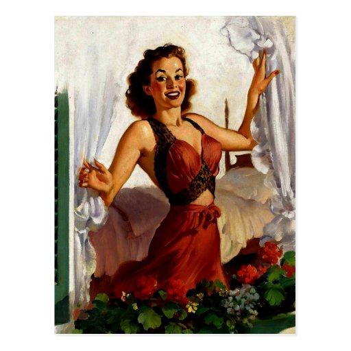 Vintage Gil Elvgren Spring Morning Pinup Girl Postcards