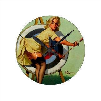Vintage Gil Elvgren Target Archery Pinup Girl Clock