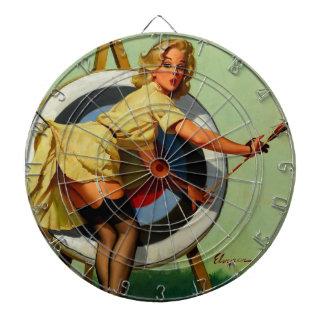 Vintage Gil Elvgren Target Archery Pinup Girl Dartboard