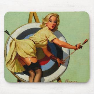 Vintage Gil Elvgren Target Archery Pinup Girl Mouse Pad