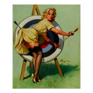 Vintage Gil Elvgren Target Archery Pinup Girl Poster