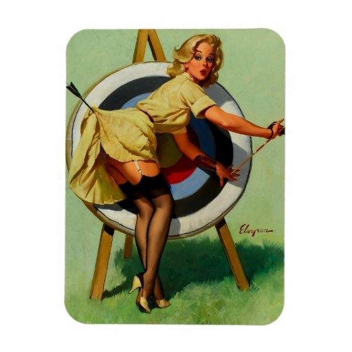 Vintage Gil Elvgren Target Archery Pinup Girl Rectangle Magnet
