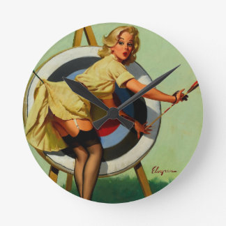 Vintage Gil Elvgren Target Archery Pinup Girl Round Clock