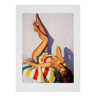 Vintage Gil Elvgren Telephone Pin Up Girl Poster