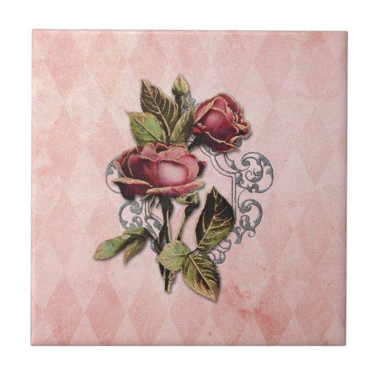 Vintage Gilded Roses Tile