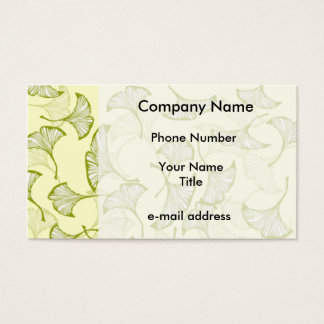 Vintage Ginkgo Leaves On Yellow Business Card