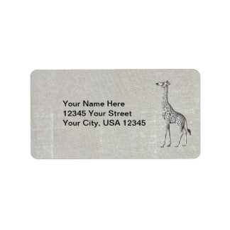 Vintage Giraffe Address Label