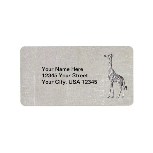 Vintage Giraffe Address Label