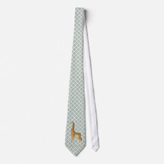 Vintage Giraffe on Gray Quatrefoil Tie