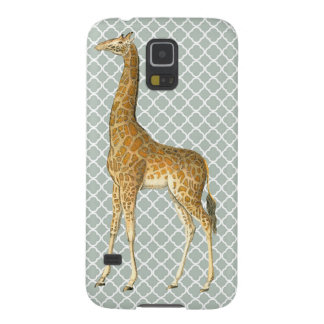 Vintage Giraffe on Grey Quatrefoil Phone Case