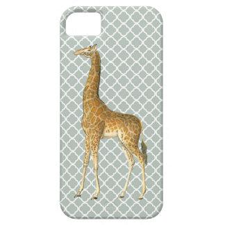 Vintage Giraffe on Grey Quatrefoil Phone Case