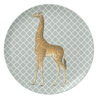 Vintage Giraffe on Grey Quatrefoil Plate