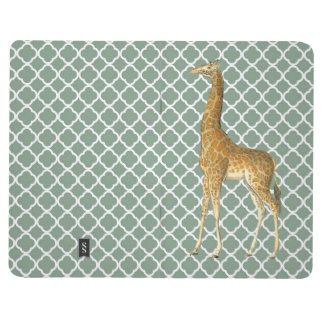 Vintage Giraffe on Grey Quatrefoil Pocket Journal