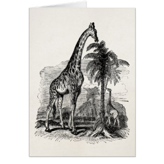 Vintage Giraffe Personalized Animal Illustration Card