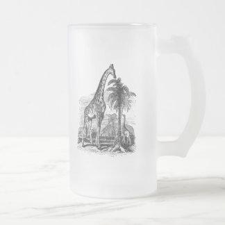 Vintage Giraffe Personalized Animal Illustration Frosted Glass Beer Mug