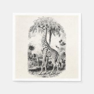 Vintage Giraffe Personalized Animal Illustration Paper Napkin