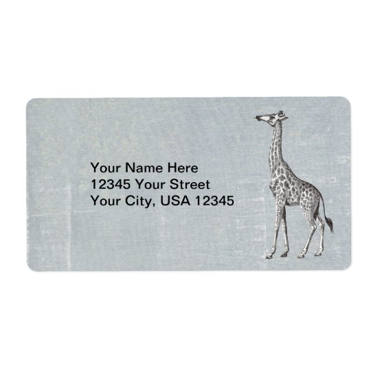 Vintage Giraffe Shipping Label