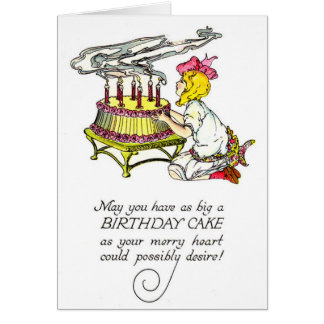 Vintage Girl and Birthday Cake Note Card