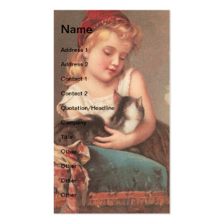 Vintage Girl and Cat Pack Of Standard Business Cards