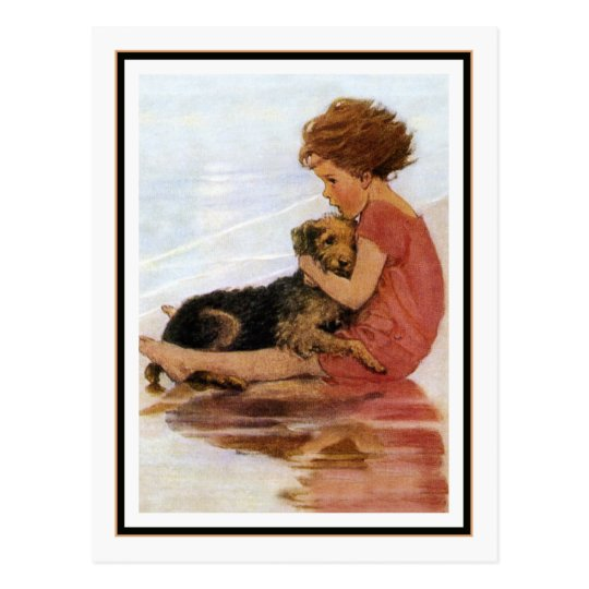Vintage Girl and Dog by Jessie Willcox Smith