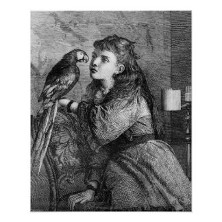 Vintage Girl and Parrot Etching Poster