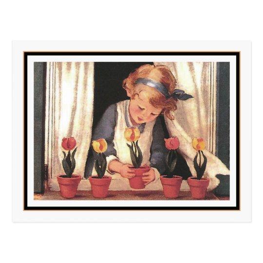 Vintage Girl and Windowbox by Jessie Willcox Smith
