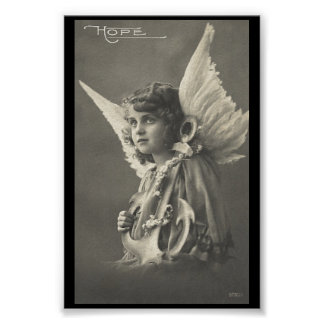 Vintage Girl Angel Symbol of Hope 1900s Anchor Poster