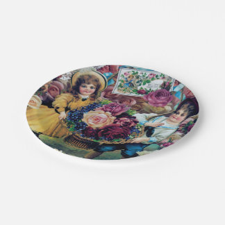 Vintage Girl Boy Roses Children 7 Inch Paper Plate