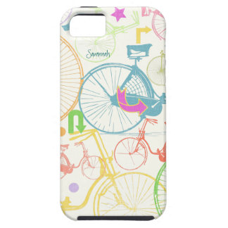 Vintage Girl Bright Colors Bike Pattern Iphone 5 Tough iPhone 5 Case