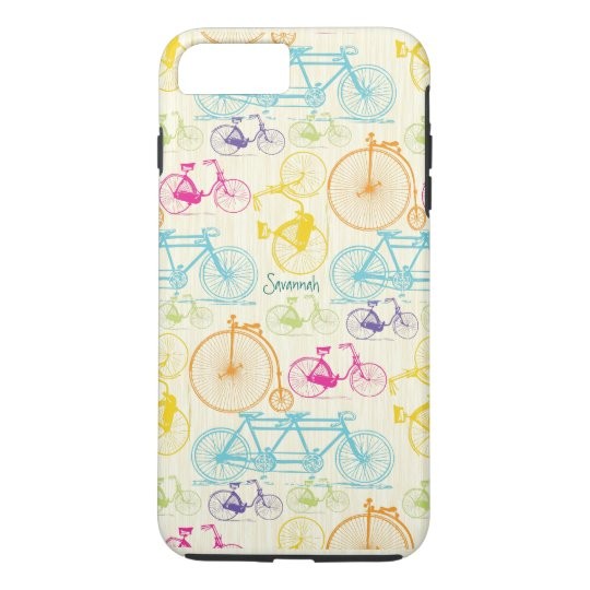 Vintage Girl Bright Colours Bike Pattern Iphone 5 iPhone 7 Plus Case