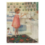 Vintage Girl, Child Doing Laundry Hanging Clothes Custom Announcement