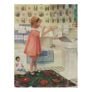Vintage Girl, Child Doing Laundry Hanging Clothes Postcard
