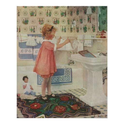 Vintage Girl, Child Doing Laundry Hanging Clothes Poster