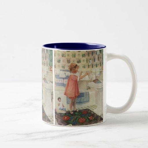 Vintage Girl, Child Doing Laundry Hanging Clothes Two-Tone Mug
