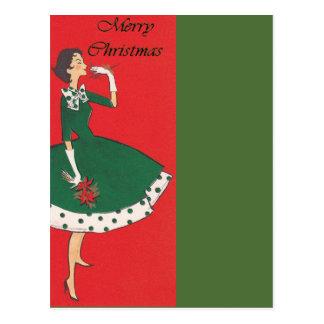 Vintage Girl Christmas Postcard