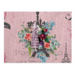 Vintage Girl Corloful Red Roses Paris Eiffel Tower Post Cards